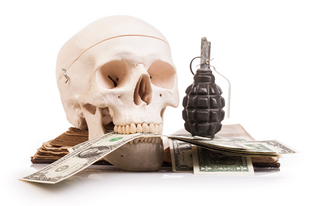 army face: human scull  and holy book isolated on white background