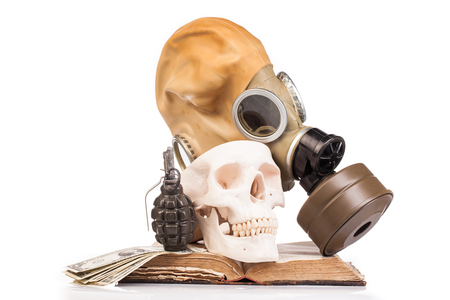 granade: gas mask and human scull isolated on white background Stock Photo