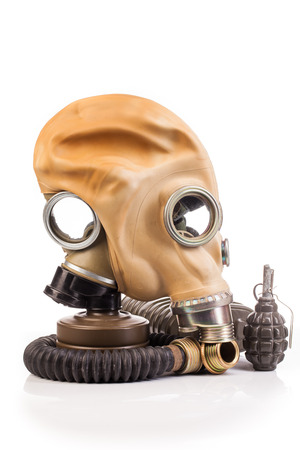 granade: gas mask isolated on white background