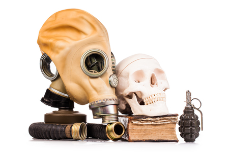 gas mask and human scull isolated on white background Stock Photo
