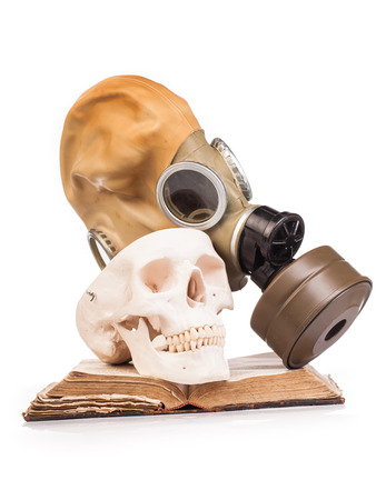 granade: human scull  and holy book isolated on white background