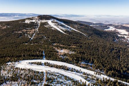 aerial view of the winter time Czarna Gora mountain in Poland