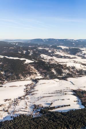 aerial  view of the mountain landscape in Czech Republic near Stare Mesto pod Sneznikem Town Reklamní fotografie