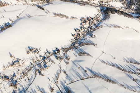 aerial  view of the mountain landscape in Czech Republic near Stare Mesto pod Sneznikem Town Reklamní fotografie