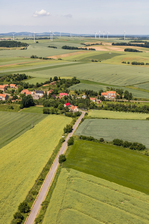 windpower: aerial view of the Lasowice  village near Otmuchow town  in Poland