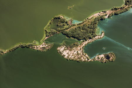 Aerial view of the green lake near Nysa City in Poland Banque d'images