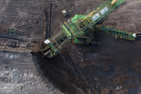 aerial view of the coal excavator Stok Fotoğraf