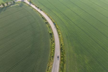 aerial view of the village road Poland Archivio Fotografico - 103359864