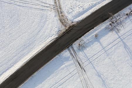 aerial view of the village landscape in winter Archivio Fotografico - 117003085