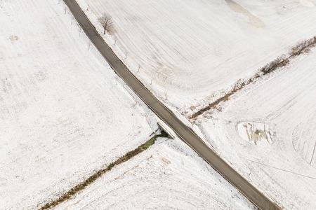 aerial view of the village landscape in winter Archivio Fotografico - 117003361