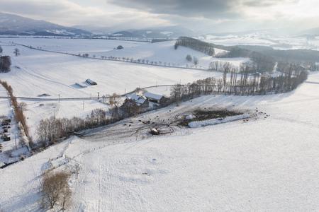 aerial view of the village landscape in winter Archivio Fotografico - 117003360