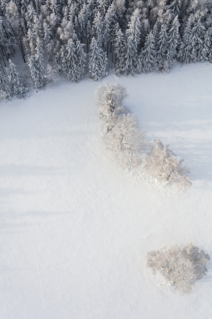 aerial view of the mountain forest landscape in winter Archivio Fotografico - 117003362