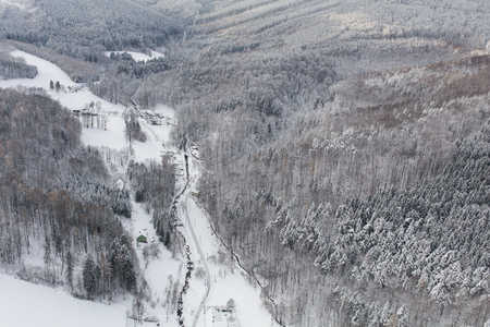 aerial view of the mountain forest landscape in winter Archivio Fotografico - 117003368