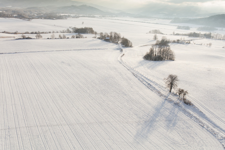 aerial view of the village landscape in winter Archivio Fotografico - 117009265