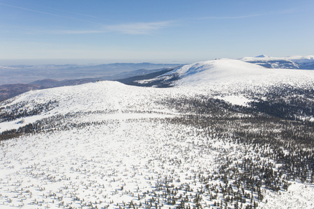 aerial view of the winter  mountain landscape in Poland Archivio Fotografico - 119668052