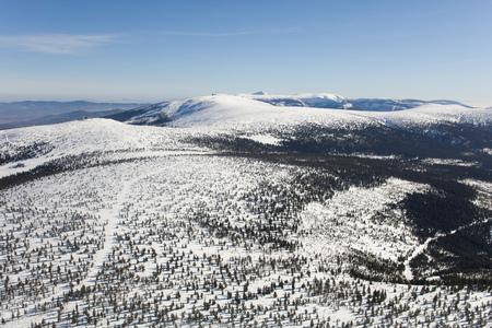 aerial view of the winter  mountain landscape in Poland Archivio Fotografico - 119664291