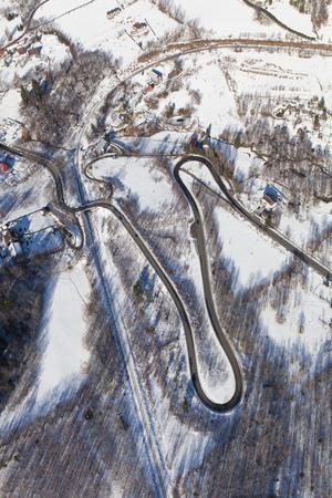 aerial view of the winter  mountain landscape in Poland Archivio Fotografico - 119664300