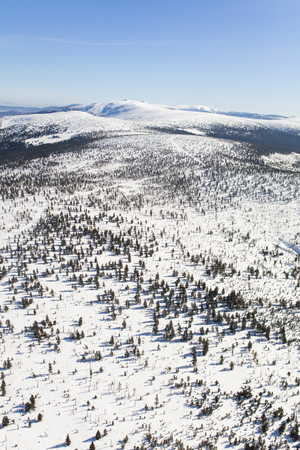 aerial view of the winter  mountain landscape in Poland Archivio Fotografico - 119664301