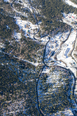 aerial view of the winter  mountain landscape in Poland Stok Fotoğraf