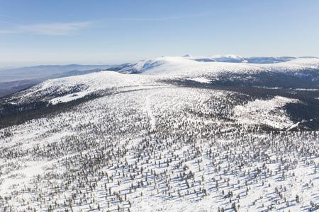 aerial view of the winter  mountain landscape in Poland Archivio Fotografico - 119668292