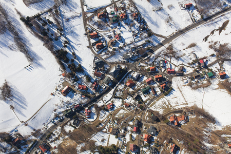 aerial view of the winter  mountain landscape in Poland Archivio Fotografico - 119668354