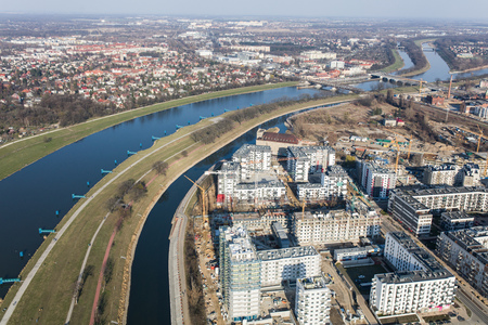 Aerial view of the Wroclaw city in Poland Archivio Fotografico