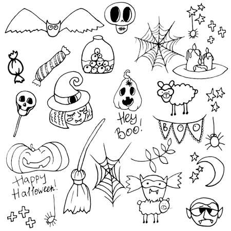 Halloween illustration vector collection. Cute clip art set in spooky theme. Autumn October holiday seasonal graphic elements design. Vetores