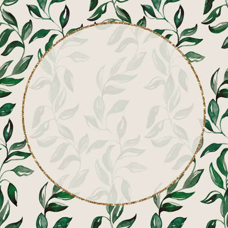 A gold frame with green branches. Watercolor handmade illustrations. For weddings and celebrations