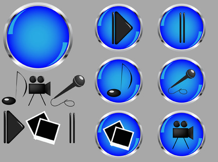 entertaining: set of glossy  buttons for a entertaining site Illustration