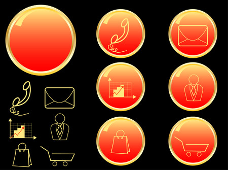 set of business icons in gold and red colour Vector