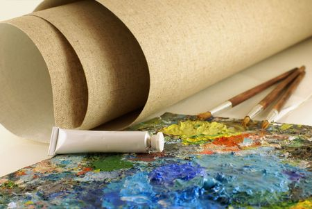 set for painting with canvas.Focus on white tube Stock Photo - 2743276