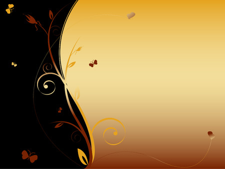 floral abstract background with butterflies and copy space