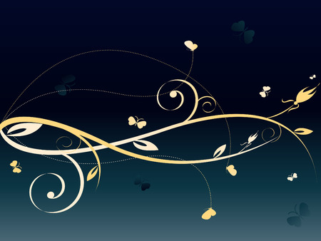 floral dark abstract background with lots of butterflies