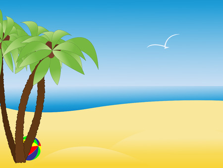 gull: Scene with empty tropical beach, sea and palm trees in vector illustration