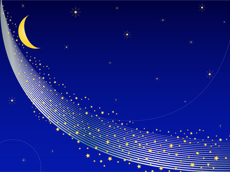 the Milky Way with a stars and moon. Abstract background  イラスト・ベクター素材