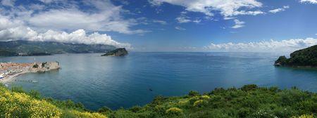 panorama of mediterranean seaside in the summer time