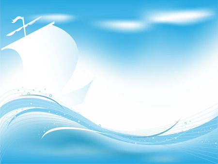 abstract wavy vector backdrop with sailing boat. Meshes used. Vector