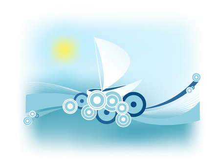 abstract retro illustration with a sailing boat on the waves