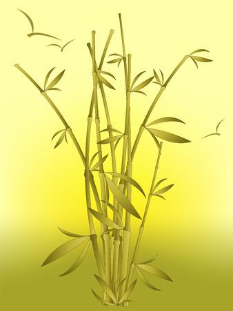 bambou sur le lever du soleil avec le vol des oiseaux. Les maillages utilisés pour arrière-plan.