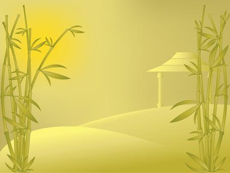 vecteur est de paysage avec du bambou, maison et le lever du soleil. Les maillages utilisés pour arrière-plan.  Vecteurs