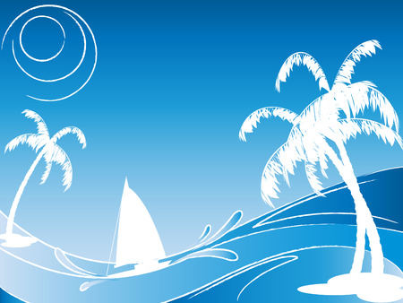vector seascape with silhouettes of palmtrees and sailing boat