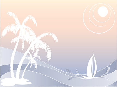 vector seascape with palms and sailing boat Vector