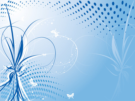 vector floral background with butterflies and half-tone effect
