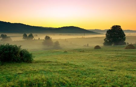early morning in the village with a sunrise and fog on the field photo