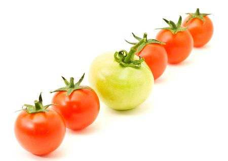distinguish: concept idea Distinguish yourself. Row of tomatoes over white Stock Photo