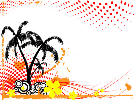 half tone: abstract tropical vector with palm trees and half tone effects