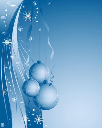 blue christmas vector with snowflakes and blobs Vector