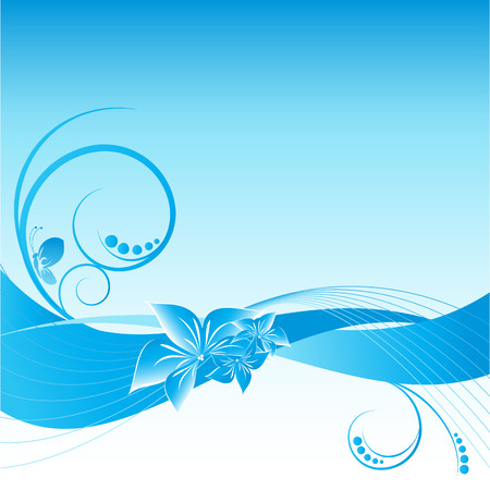 blue abstract floral vector backdrop with butterfly