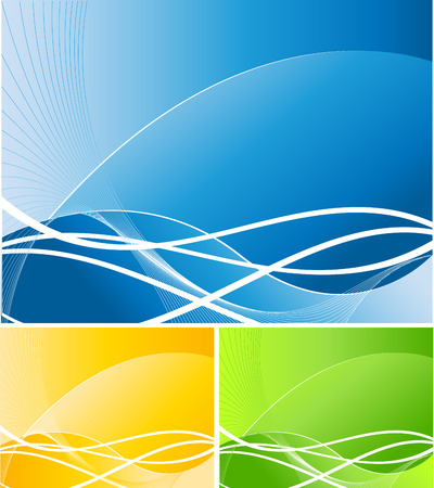 abstract vector background in three bright colors with curves and lines