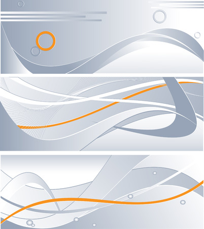three technology backdrops in steel colors with orange accents